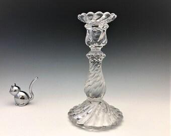 Baccarat Bambous Swirl Candlestick - Elegant Candle Holder - SIGNED