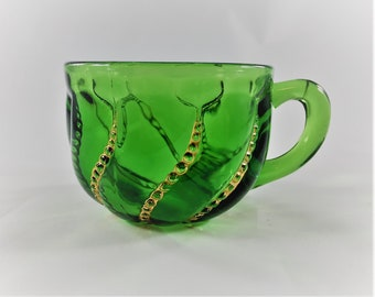 Beautiful Emerald Green EAPG Punch Cup - Duncan and Sons Glass No. 335 (OMN) - Beaded Swirl - Circa 1890