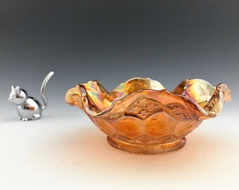 Imperial Glass Carnival Bowl - Three In One Pattern - Sauce Bowl - Small Marigold Bowl - Crimped Iridescent Bowl