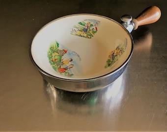 Vintage Farberware Nursery Rhyme Baby Food Warmer - Child's Feeding Plate or Bowl - 1940s Children's Dish