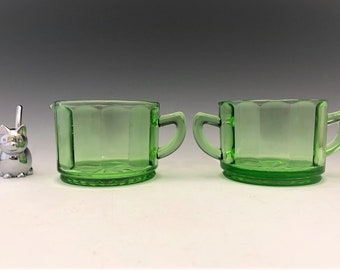 U.S. Glass Breakfast Set - Depression Glass Creamer and Sugar Bowl - Glowing Uranium Glass