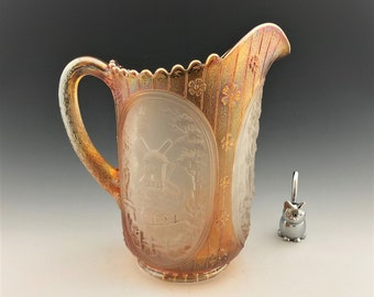 Imperial Windmill Carnival Glass Pitcher - Iridescent Glass