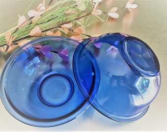 Set of 2 Cobalt Blue Pyrex Mixing Bowls - Bowl Number 323 - 1.5 Liter Mixing Bowl