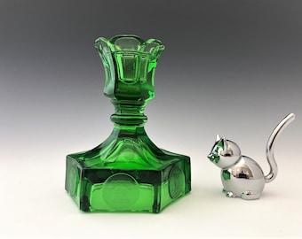 Fostoria Coin Glass Emerald Green - Single Light Candlestick - Hard to Find