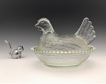 Indiana Glass Clear Hen On Nest - Chicken Lovers Unite - Covered Glass Chicken Candy Dish