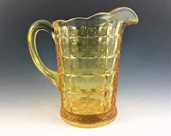 Indiana Glass Pitcher - Constellation Pattern - Line #300 - Yellow Mist - Vintage Water Pitcher