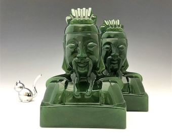 Imperial Cathay Jade Lu Tung Bookends - Set of Two - Hard to Find
