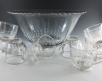 Vintage New Martinsville/Viking Glass Punch Bowl Set - Radiance Pattern - Mid Century Holiday Entertaining - Bowl and 8 Cups