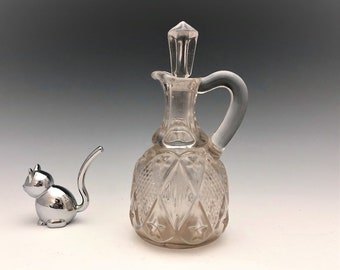 EAPG Cruet - Ohio Flint Glass - No. 488 Diamond Pattern - AKA Dunkirk Diamond - Early American Pattern Glass - Circa 1896
