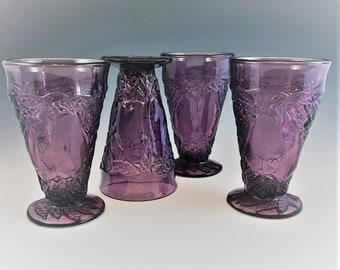 Indiana Glass Footed Tumblers - Set of 4 - Avocado or Sweet Pear Pattern (Line #601) - Amethyst Footed Tumblers - Tiara Purple Glass