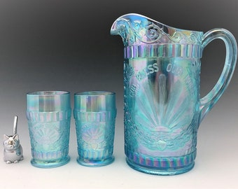 L.G. Wright God and Home Water Set - Ice Blue Carnival Glass - Westmoreland for Levay - Pitcher and 6 Tumblers