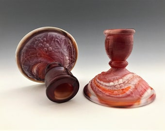 Set of Two Vintage Imperial Glass Candle Holders (#880) Ruby Slag - Red and Orange Slag Glass - Swirl Glass Candlestick Holders