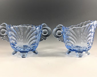 Cambridge Glass Caprice Moonlight Blue Pattern - Breakfast Set - Creamer and Sugar Bowl - Elegant Depression Era Glass