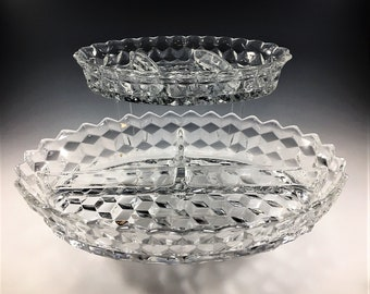 Fostoria American (2056) - Set of Two 3-Part Relish Dishes