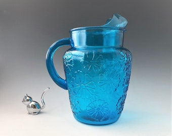 Anchor Hocking Springsong Pitcher in Laser Blue - Vintage Blue Pitcher With Ice Lip - Sunflower Pitcher