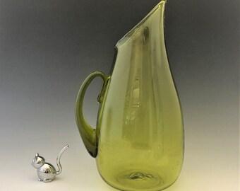 Blenko 939 Pitcher - Mid Century Green Art Glass Pitcher - MCM Blown Glass