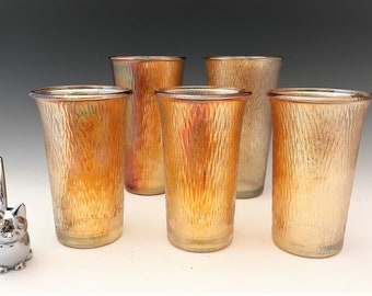 Jeannette Glass Tree Bark Tumblers - Set of 5 Carnival Glass Tumblers - Iridescent Glass - Marigold Glasses