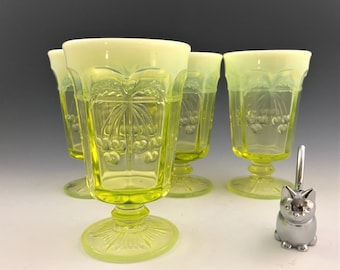Stunning Set of 4 Mosser Cherry and Cable Vaseline Iced Tea Glasses With Opalescent Rims - Hard to Find Glowing Glass