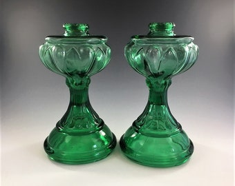 Set of Two Vintage Green Glass Oil Lamps