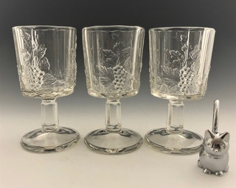 Set of 3 Westmoreland Glass Water Goblets - Paneled Grape Pattern