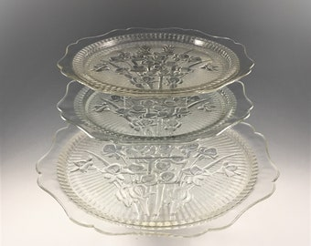 Set of 3 Jeannette Plates - Iris and Herringbone - 12 Inch Sandwich and Two Dinner Plates