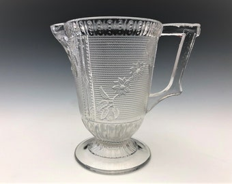 EAPG Creamer - Canton Glass - Sparkling Pattern - AKA Primrose - Early American Pattern Glass - c. 1885