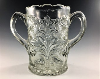 EAPG Celery Vase - Indiana Glass Company - No. 162 (OMN) - AKA Narcissus Spray, Bouquet, Winner - Early American Pattern Glass - Circa 1918