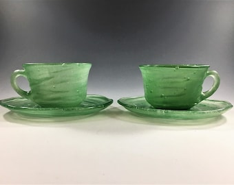 Consolidated Art Glass - Catalonian Pattern - Old Spanish - Set of 2 Cups and Saucers - Jade Green - Hard to Find - Depression Era Glass
