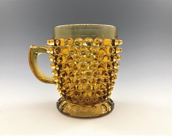 Beautiful Amber EAPG Cup or Mug - Canton Glass Company - AKA Hobnail - Circa 1880 - Early American Pattern Glass