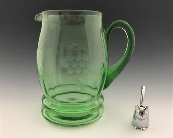 Green Depression Glass Pitcher - Standard Glass Company - R3260 - Grape Cut 236 - Uranium Glass Pitcher