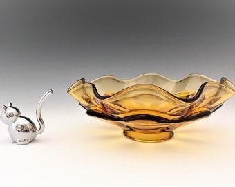 Viking Glass Amber Epic #6604 Double Crimp Bowl