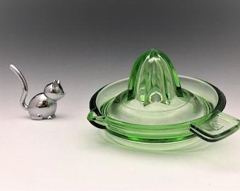 Uranium Glass Reamer - Green Depression Glass Juicer - Federal Glass