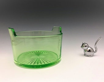 Cambridge #394 Uranium Glass Ice Tub - Green Depression Glass Ice Bucket - Vintage Barware - Glowing Green Glass