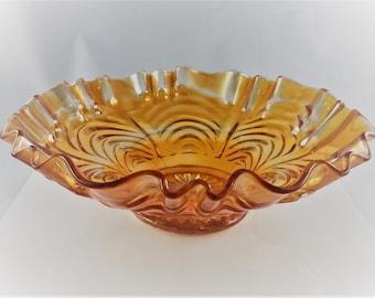 Classic Carnival Glass Bowl - Fenton Cut Arcs Pattern - Three In One Crimped Rim - Reverse Drapery