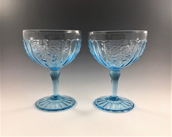 Set of 2 Hocking Mayfair Blue Champagne/Tall Sherbet Glasses - Footed Glasses - Hard to Find - Blue Depression Glass