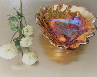Vintage Amber Carnival Indiana Glass Serving Bowl - Pine Cones Motif - Loganberry Pattern