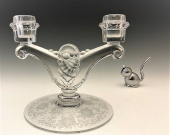 Heisey No. 1495 Fern Two-Light Candlestick (c. 1937-57) - Elegant Glass Candlestick Holder