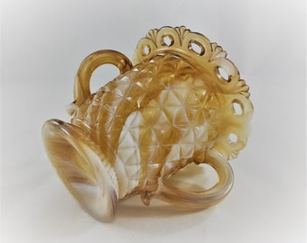 Imperial Glass - Laced Edge Caramel Slag - Footed Open Sugar Bowl