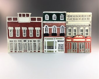 Set of 4 Walt Disney World Main Street USA Ceramic Tiles - Shepard Eberly Collection - Disneyland Souvenir - Hand Painted