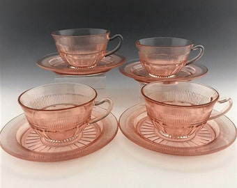 Set of Four Anchor Hocking Coronation Pink Depression Glass Cups and Saucers