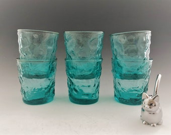 Anchor Hocking Milano Aqua 8 Ounce Flat Tumblers - Set of 6 - Hard to Find - Mid-Century Drinkware