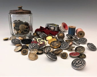 Large Lot of Vintage Buttons - Metal Buttons - Military Uniform Buttons - 75+ Buttons