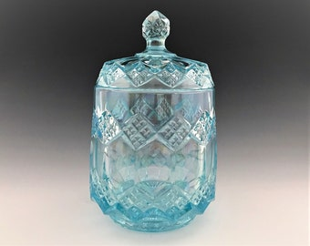 Imperial Glass Azure Blue Three In One Cookie Jar - Iridescent Blue Glass - Hard to Find
