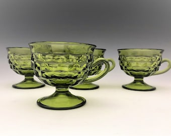 Indiana Glass Whitehall Pattern - Line #521 - Set of 4 Olive Green Footed Cups