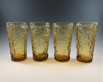 Anchor Hocking Milano Honey Gold 12 Ounce Flat Tumblers - Set of 4 - Mid-Century Amber Drinkware