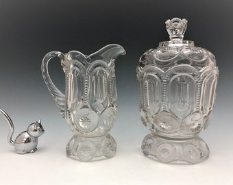 Moon and Star Breakfast Set - Adams and Company Palace Pattern - Creamer and Covered Sugar Bowl - EAPG