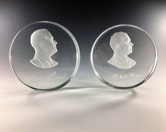 Limited Set of 2 Presidential Paperweights - Roosevelt and Nixon - Signed and Numbered