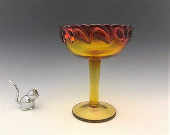 Indiana Glass Leaf (#1009) Pattern Tall Open Compote in Sunset - Tiara Exclusives