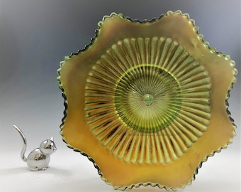 Northwood Stippled Rays Pattern - Vintage Green Carnival Glass Crimped Bowl - Hard to Find Iridescent Bowl