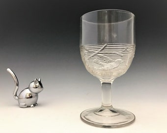 EAPG Goblet - Birds In Swamp - Unknown Maker - Hard to Find Early American Pattern Glass - c. 1880's